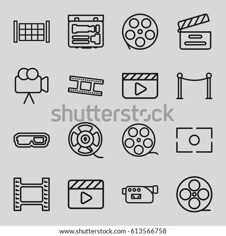 Cinema icons set. set of 16 cinema outline icons such as fence, Red carpet barrier, movie clapper, movie tape, camera, film tape, camera tape, camera focus, clapper board