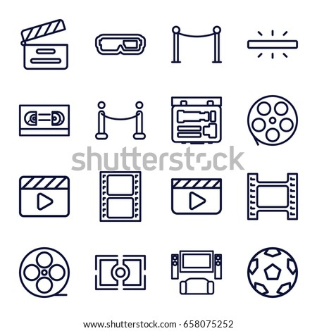 Cinema icons set. set of 16 cinema outline icons such as red carpet barrier, movie clapper, movie tape, camera, camera focus, red carpet, film tape, clapper board, tv system