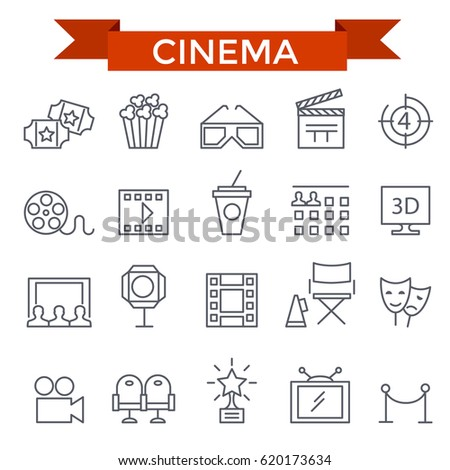 Cinema icons, thin line, flat design