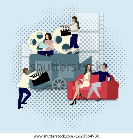 Cinema industry, filming and productions, camera and clapper. Vector cinematography concept, cinema team making video picture, entertainment production illustration