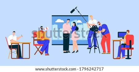 Cinema industry flat vector illustration. Movie director, cameraman, sound engineer and actress cartoon characters. Action film, advertisement shooting process. Show business, entertainment concept Stock fotó ©