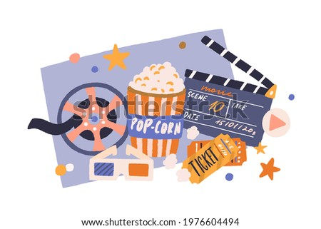 Cinema items in retro style. Movie tickets, film clapperboard, popcorn bucket, vintage reel, and 3d glasses composition. Cinematography industry. Colored flat vector illustration isolated on white