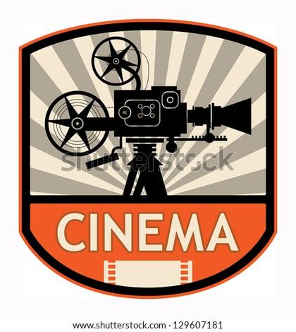 Cinema label, vector illustration
