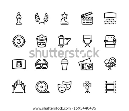 Cinema line icon. Movie and theater awards, tv entertainment and leisure with film and popcorn symbols. Vector illustration cinema icons set video, movie camera, popcorn