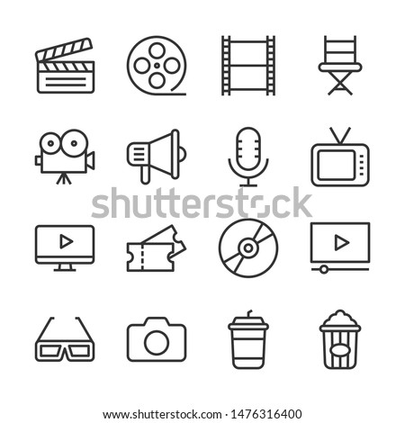 Cinema line icons set vector illustration