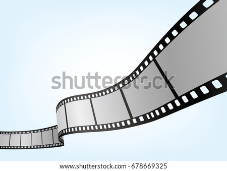 Cinema / movie and photography 35 mm film strip template, vector 3D elements.