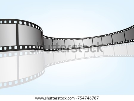 Cinema / movie and photography 35 mm film strip template, vector 3D elements