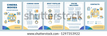 Cinema movie brochure template layout. Event in theatre. 3d film premiere. Flyer, booklet print design with linear illustrations. Vector page layouts for magazines, annual reports, advertising posters