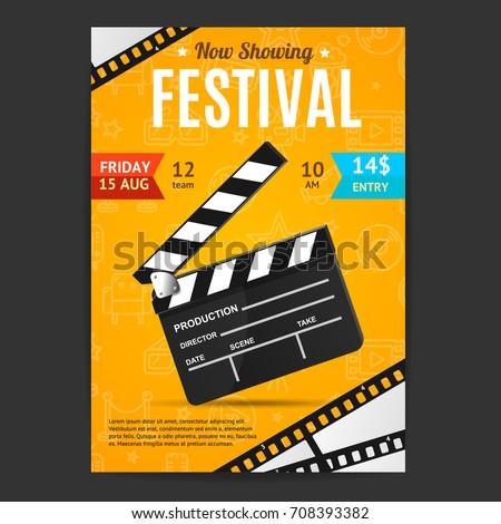 Cinema Movie Festival Poster Card Template with Realistic Clapper Board for Ad, Invitation, Presentation . Vector illustration of Film flyer