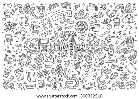 Cinema, movie, film doodles hand drawn sketchy vector symbols and objects
