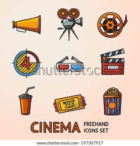 Cinema (movie) freehand icons set with - cinema projector, film strip, 3D glasses,  clapboard, popcorn in a striped tub, cinema ticket, glass of drink.