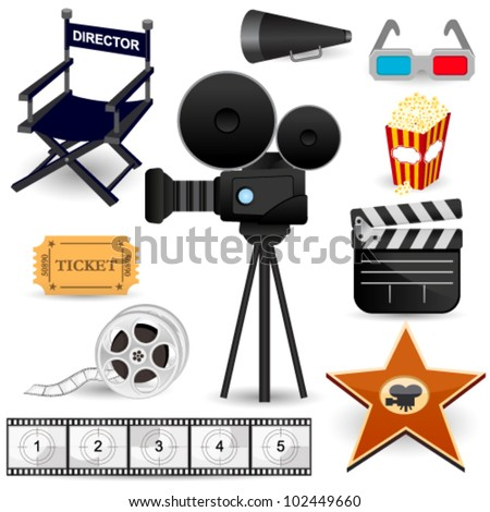 Cinema Movie Icons - stock vector
