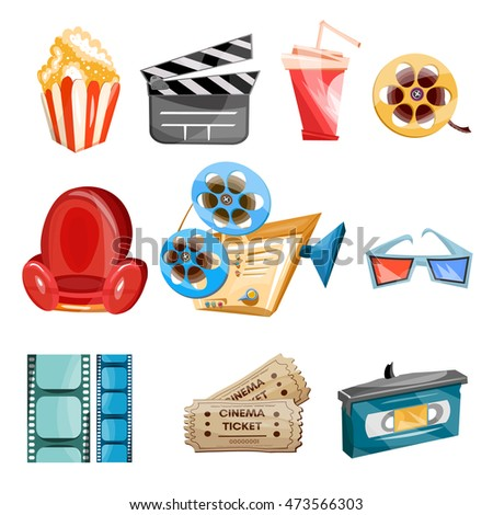 Cinema movie icons cartoon cinema hand drawn icon collection cinema and movie icon vector