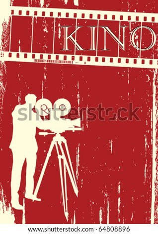 Cinema, movie poster  layout, grunge background