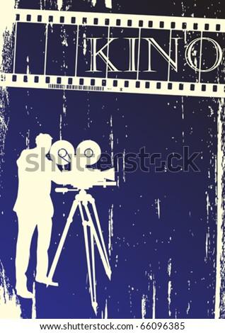 Cinema, movie poster  layout, grunge background