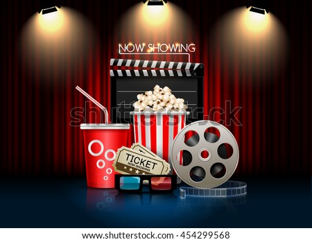 cinema movie theater object on curtain background;sign