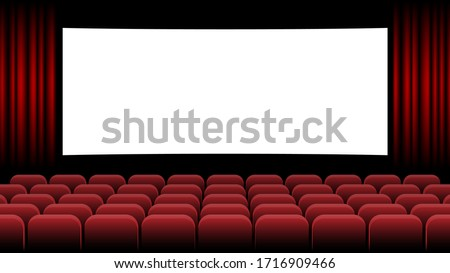 Cinema movie theater with blank screen and red seat, vector illustration