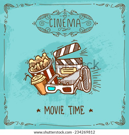 cinema movie time sketch poster