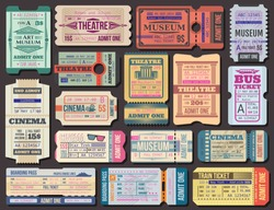 Cinema, museum and theatre tickets and boarding pass vector. Film show 3d seance, stage performance and exhibition paper admission. Transportation by plane and ship, bus and train, traveling