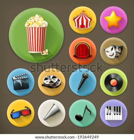 Cinema music and theater long shadow icon set