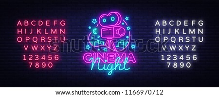 Cinema Night Neon Logo Vector. Movie Night neon sign, design template, modern trend design, night neon signboard, night light advertising, light banner, light art. Vector. Editing text neon sign