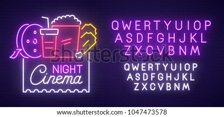 cinema night neon sign  bright