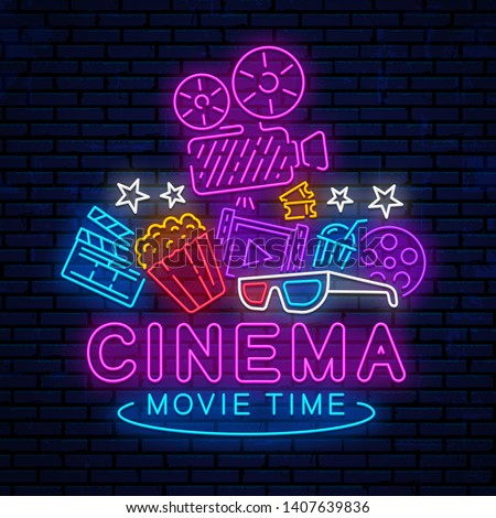 Cinema, night neon sign, logo, emblem, icon for movie. Bright signboard, bright night advertising. Glowing neon cinema banner. Template for the signboard, billboard. Vector movie logo.