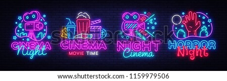 Cinema night set neon sing, label and logo. Cinema banner Design template, logo, emblem and label. Bright signboard, nightly bright advertising. Movie logo. Vector illustration