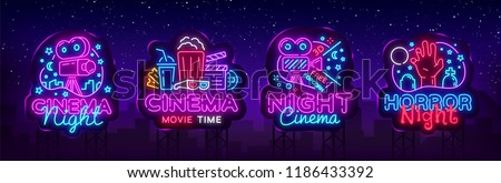 Cinema night set neon sing, label and logo. Cinema banner Design template, logo, emblem and label. Bright signboard, nightly bright advertising. Movie logo. Vector illustration. Billboard