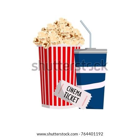 cinema. objects popcorn, ticket  and soda. vector illustration
