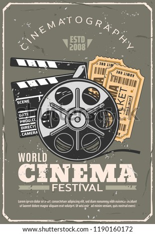 Cinema or movie festival retro poster, tickets for seance and film reel beside clapperboard. Cinematography industry and motion picture production and projecting vintage equipment, vector illustration