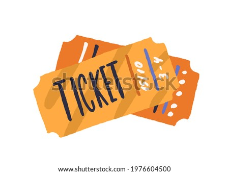 Cinema paper tickets. Entry cards for movie premiere, film festival, theatre, show, concert, performance, or other entertainments. Colored flat vector illustration isolated on white background