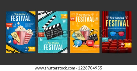 Cinema Placard Set with Realistic 3d Detailed Element Include of Popcorn, Ticket and Clapper. Vector illustration of Video Movie Card