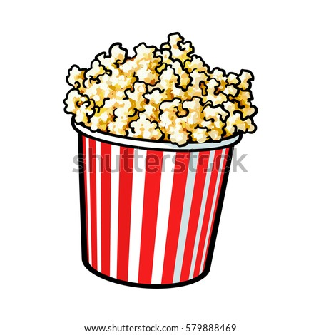 Cinema popcorn in a big red and white striped bucket, sketch style vector illustration isolated on white background.