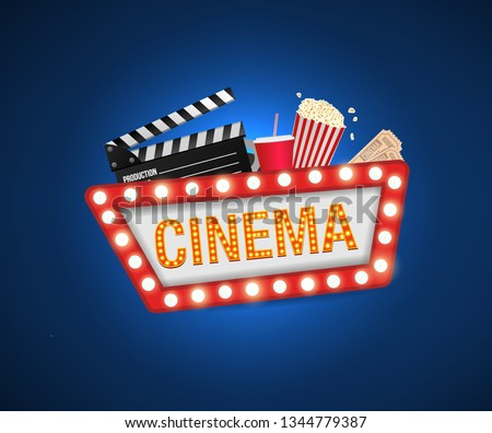 Cinema poster design template. Movie concept banner design  Movie time background banner shining sign. Popcorn, filmstrip, clapboard, tickets.