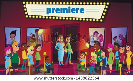 Cinema Premiere and Ceremony Show with Superstars and Mass Media. Cartoon Famous Celebrities Couple Standing on Red Carpet. Cartoon Press and Paparazzi Takes Pictures. Vector Illustration