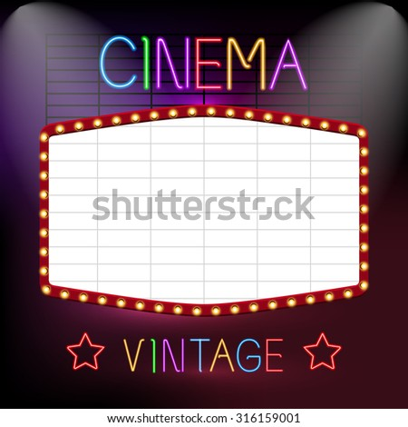 Cinema Premiere Vintage Advertising Neon Lights Sign Board Vector Illustration