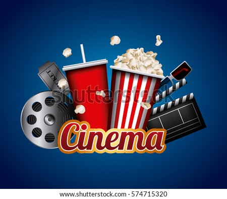 cinema related icons over blue background. colorful design. vector illustration