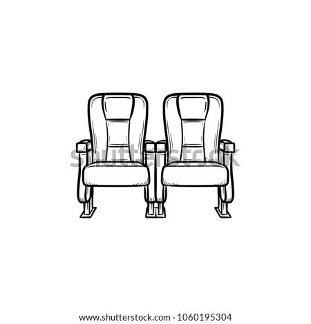 Cinema seat hand drawn outline doodle icon. Row of cinema chair vector sketch illustration for print, web, mobile and infographics isolated on white background.