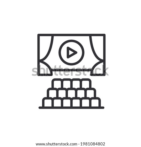 Cinema seat icon from Entertainment collection. theater or cinema line icon. Isolated Cinema Hall Icon Symbol On Clean Background. Vector Auditorium Element In Trendy Style. Outline web pictograph.