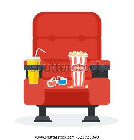 Cinema seats in a cinema with popcorn, drinks and glasses. Flat vector cartoon Cinema seats illustration. Objects isolated on a white background.
