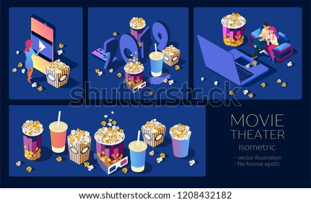 Cinema set. Illustrations for online movie views. Watch the movie on the phone ore laptop. Download and view the video at home on sofa. A smartphone with popcorn and cola in a human hand. Isometric 3d