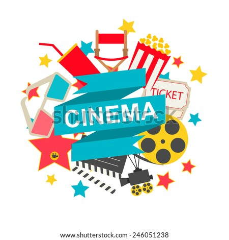 Cinema sign with cinema icons set in flat design style, vector illustration