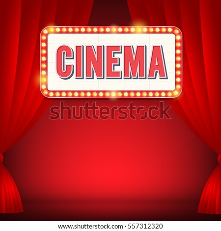 cinema sign with light