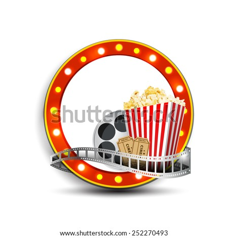cinema signboard with light