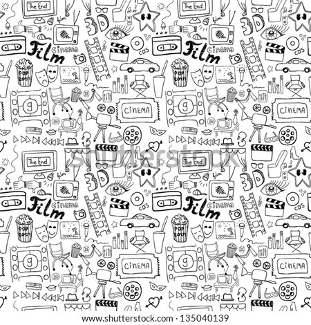 Cinema signs seamless pattern