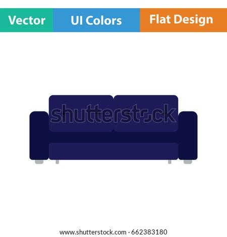 Cinema sofa icon. Flat color design. Vector illustration.