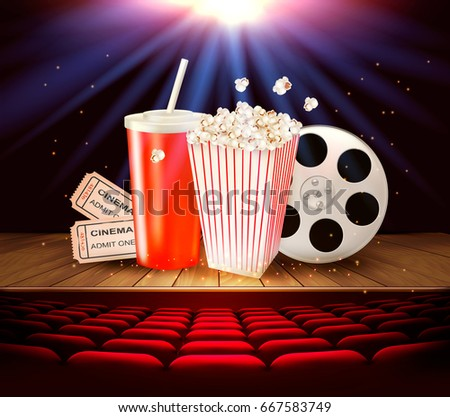 Cinema supplies on a wooden stage - drink, popcorn, tickets. Vector.