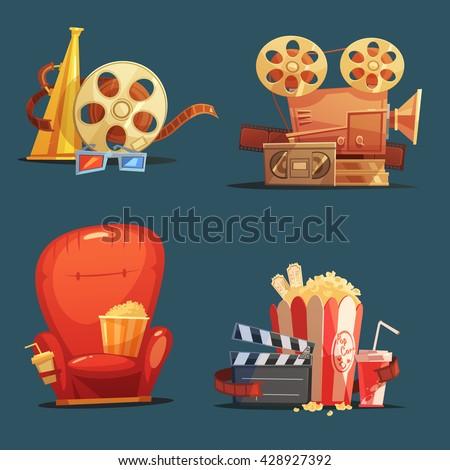 cinema symbols 4 retro style