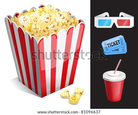 Cinema symbols vector set isolated. 3-d glasses, ticket, soda, popcorn - stock vector